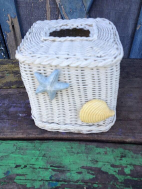 Beachy white wicker tissue box cover seashells - Beach themed tissue box cover ...