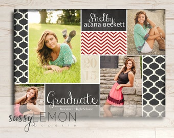 2018 Graduation - Shelby Graduation Announcement - Turquoise, Coral, Trendy, Class of 2017
