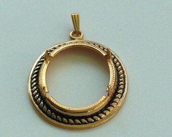 Vtg Oval PENDANT EP Gold Finding~ Prong Set 30 x 23mmC abochon ~ Goldtone Ornate~ Jewelry Finding Lapidary Supplies