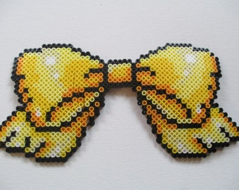 Golden Yellow Perler Bead Bow