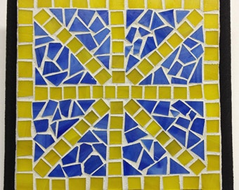 Yellow and Blue Mosaic Plaque