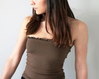 Strapless brown stretch viskose top.one-size