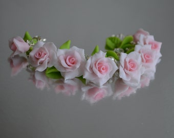 Handmade polymer clay flower bracelet // Цветочный браслет из полимерной глины // свадьба