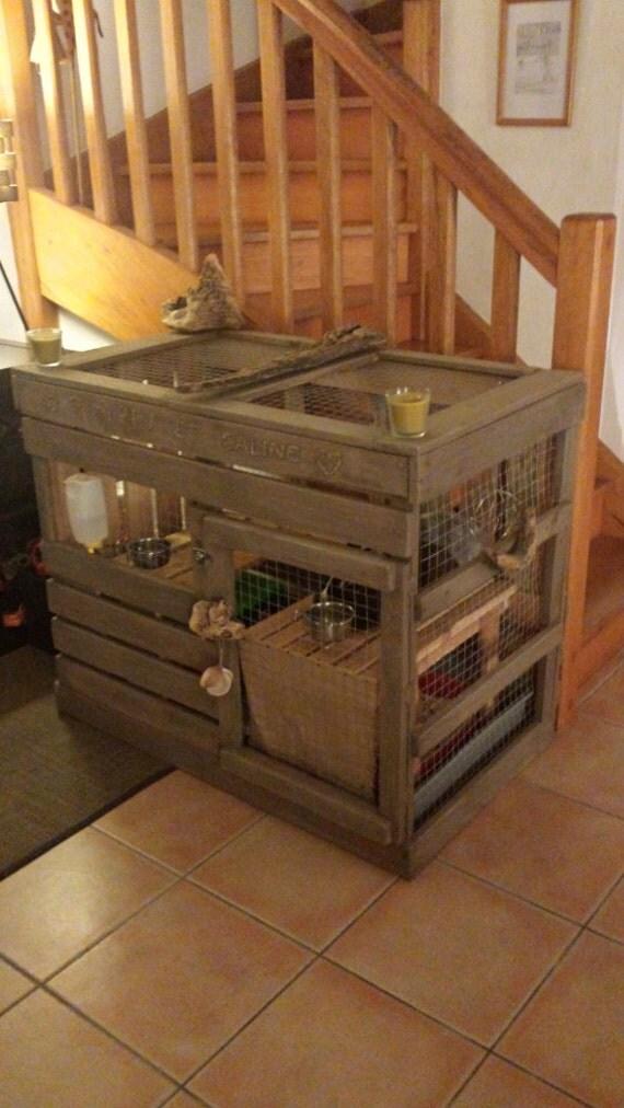 Cabane En Bois Pour Lapin : Articles similaires ? Cage ? lapin de type cabane en bois massif de