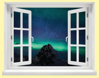 Window with a View Northern Lights Wall Mural