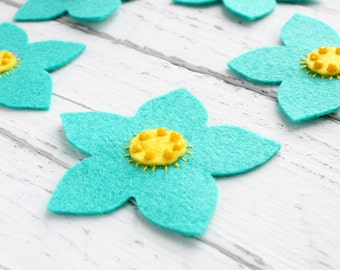 Flower felt appliques, Set of 5, Craft supplies, Handmade felt appliques