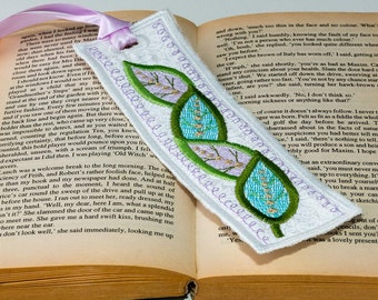 Floral Embroidered Bookmark.