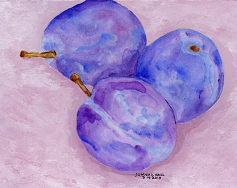 Three Plums Painting, Fruit Painting, Kitchen Art, Small Format Art, Acrylic Painting