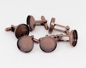 10x Antique Copper Cufflink Setting Blanks Fits 16mm Cabochon