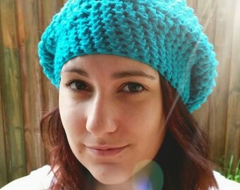 Handmade Crochet Womens Slouch Beanie Teal