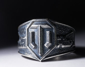 World Of Tanks Ring, silver-plated brass, handmade