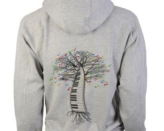 Paino Hoody Musical Tree Keyboard in sizes up to XXL