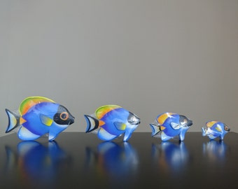 Hand Carved Wooden Fish Surgeonfish(Indo-pacific Bluetang) for Shelf or Mantle-set of 4