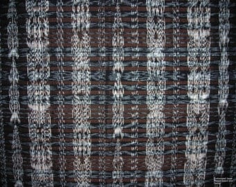 """0002A - New Authentic Guatemalan """"Ikat"""" Hand-woven Wall Tapestry (Black & Brown)"""