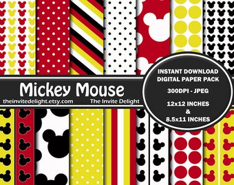 Mickey Mouse Digital Paper Pack, Mickey Polka Dots, Mickey Mouse Heads, Printable Party Decor, Scrapbooking Paper, Instant Download