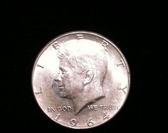 1964 Silver Half Dollar Coin Antique, U,S, Vintage