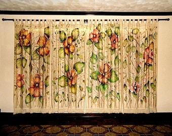 Original Art:  Wall/window hanging drapes.  Elegant original hand painted floral design.
