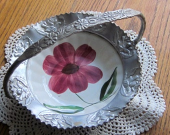 Blue Ridge Southern Pottery and Hand Wrought Aluminum Basket with Handle 1940 Era