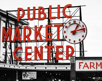 Seattle's Pike Place Public Market Photograph, Black & White with Red, Urban Photography, 16x20 Print Sale