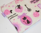 Kawaii Padded Zip Pouch/ Kitty & Butterfly Coin Purse / Gothic Lolita Wallet / Gadget Protector / Cosmetic Bag - Other Colors Available