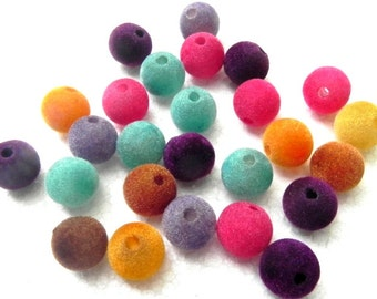 50  velvet beads Awesome different colour  Beaded beads  Best quality  round  beads 14 mm hole size 3 mm.