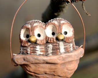 sleeping baby barred owls ornament