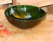 Anchor Hocking Emerald Green Salad Bowl 1960s Glass Vintage Party Ware Mid Century