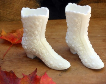 Fenton Boots Daisy & Button Milk Glass Vases For Your Vintage Wedding Mid Century Collectible