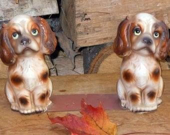 Bookends Cocker Spaniel Dogs Enesco Japan Chalkware Fun Mid Century Home Decor