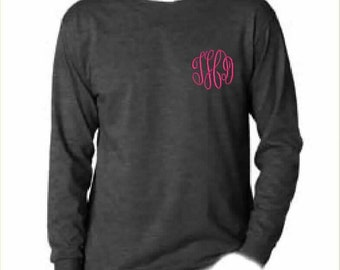 3 Monogrammed Long Sleeve TShirts (Embroidered) Personalized Sorority Cheerteam Bridesmaid Bridal Party