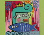 Queen Fish Girl 12x12 Painting by Jelene