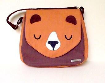 Cute ladies handbag, Bear Handbag, Bear Tote Bag, Bear Bag, Bear Shoulder Bag, Bear Carryall, Fabric Canvas Bag, Bear Purse, RUST BROWN