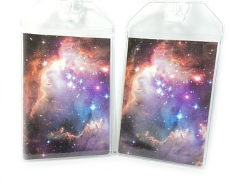 Luggage Tags - set of two - Purple Nebula pair - Astronomy themed outer space bag tags, galaxy and stars