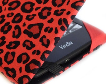 Kindle Paperwhite cover - Scarlet Leopard - animal print kindle cover fits Touch, Paper white, basic - hardcover eReader case, red and black