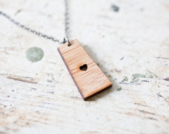 Saskatchewan Necklace - Bamboo - Saskatchewan Necklace Saskatchewan Charm Saskatchewan Pendant Saskatchewan Map Saskatchewan Jewelry