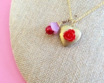 Heart Locket Necklace, Flower Charm Necklace, Red Flower Necklace, Brass Heart Necklace, Valentines Day Necklace, Handmade KreatedByKelly