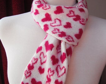 Felted Scarf, Cream with Pink Heart Design - Merino Lambswool