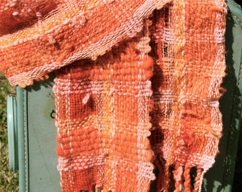 Madder R04, an Everyday Scarf handwoven and felted and dyed in Natural Madder by me