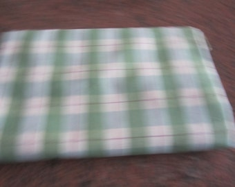 Two yards 27 inch wide green , pale yellow and red plaid ribbon like fabric