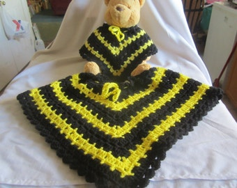 Child's yellow and black poncho with matching Disney Baby Pooh bear with  bell and own poncho