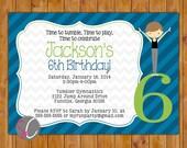 Boys Gymnastic Party Invitation Tumble Gym Invite Personalized Gymnastic 4th 6th 8th Any Age Birthday 5x7 Digital JPG (381)
