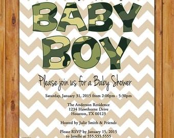 Camo Baby Shower Invite Camouflage Olive Drab Green Baby Boy Chevron 5x7 Digital JPG file (290)