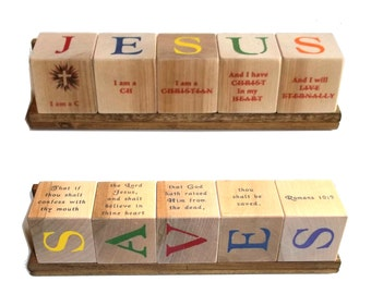 JESUS SAVES Blocks - with Scripture Quotes or Praise Songs