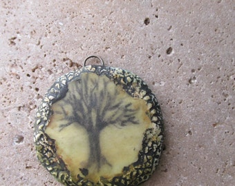 Tree Pendant Tree of Life Original Sketch Drawing Texture Necklace Bracelet Sunrise Tree Silhouette Yellow Sky  Green  Woods Forest Ethereal