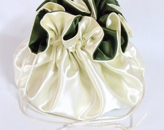 Dollar Dance Bag, Satin Bridal  Reticule,  Ivory and Moss Green,   No Pockets, Super Sized