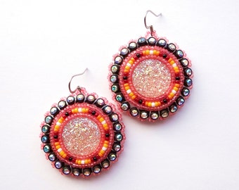 Sparkly Pink Beaded Earrings