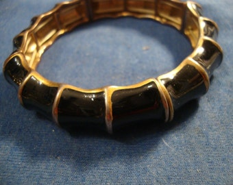 VINTAGE BAMBOO Reed Black Enamel stretch bracelet on gold tone