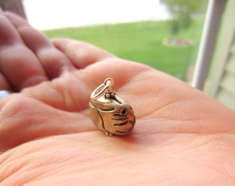 Adopt a Tiny Pet Bunny Bronze Charm Hand Wired On Sterling Silver Ring