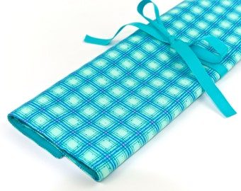 Knitting Needle Case - Winter Parade - IN STOCK Large Organizer 30 blue pockets for straights, circulars, dpns and notions
