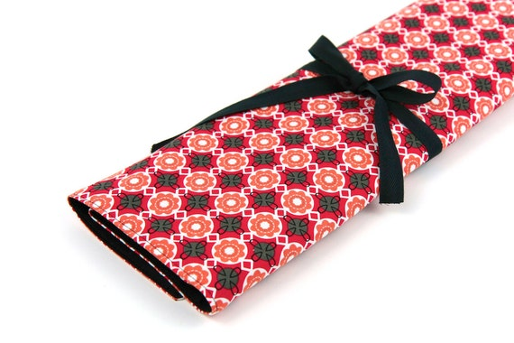 Knitting Needle Case   - Betty - IN STOCK Large Organizer 30 black pockets for straight, circular, double point needles